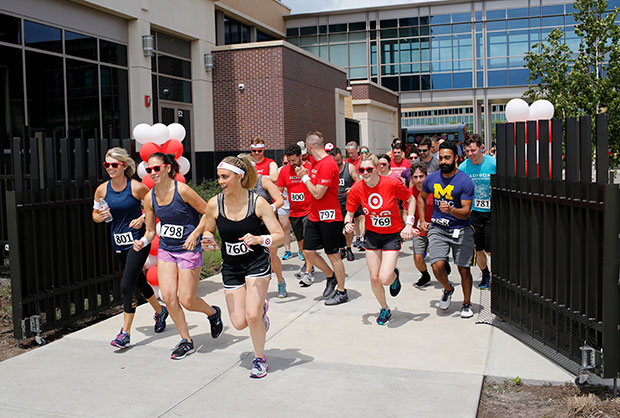 Runners at the starting line of Bullseye's Fun Run & Walk for Good at Target North Campus