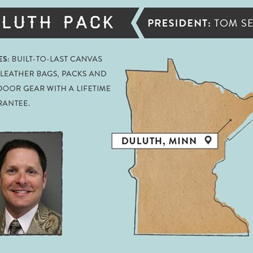 Duluth Pack infographic. President: Tom Sega, Built-to-last canvas and leather bags. Duluth, MN.