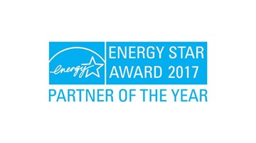 "Blue logo on white background: ""Energy Star Award 2017 Partner of the Year"""