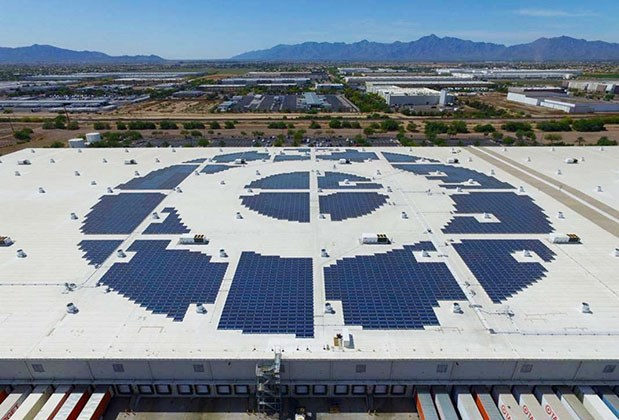 A bullseye-shaped solar installation on the roof of our Phoenix DC