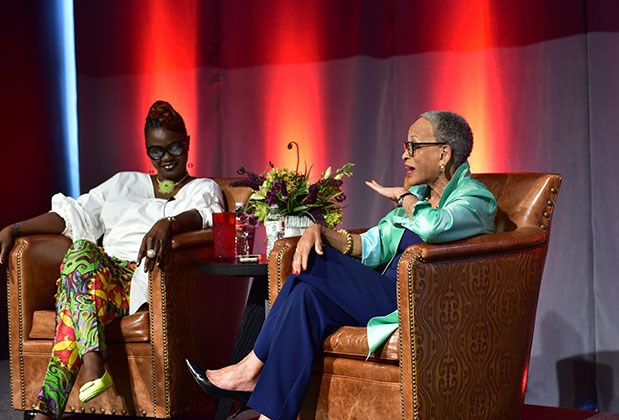 Target VP Caroline Wanga (left) and Dr. Johnetta B. Cole sit in armchairs onstage at the event