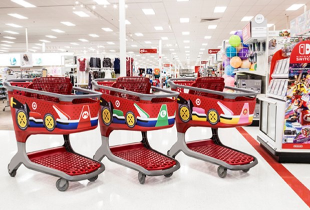 Three Target carts with decals that look like Mario Karts