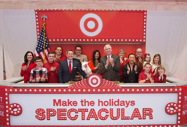 Target team members ring the opening bell at the New York Stock Exchange