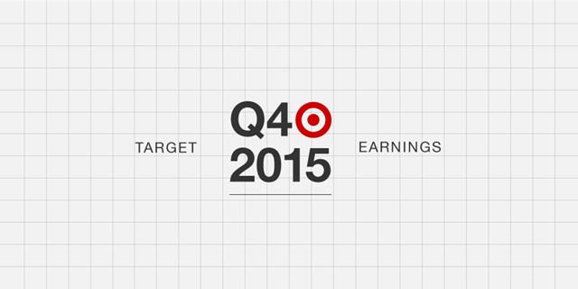 "The words ""Q4 2015 Target Earnings"" and a red Bullseye logo on a white background with grid lines."