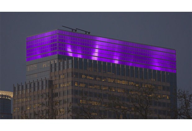 Target's Minneapolis headquarters building illuminated purple in tribute to late pop star Prince