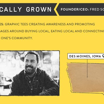 Locally Grown infographic. Founder/CEO Fred Scott. Graphic tees creating awareness for local buying,