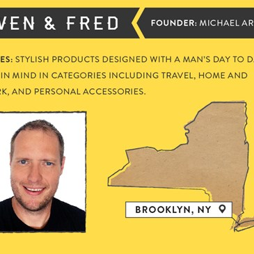 Owen & Fred infographic. Founder: Michael Arnot. Stylish products designed with a man's life in mind