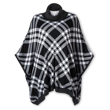 /Poncho-in-Black-White-Plaid