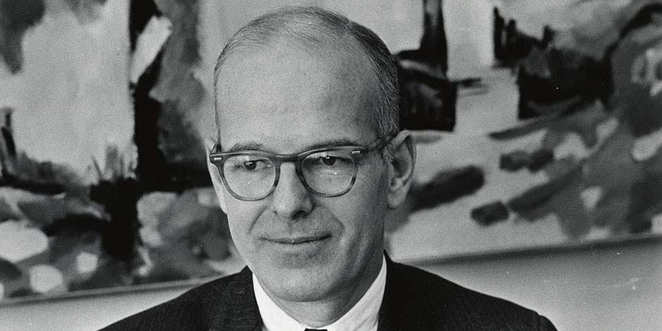 a portrait of Bruce Dayton from 1969; Bruce passed away on November 12, 2015