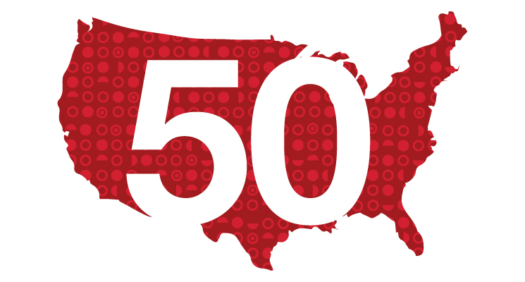 "map of U.S. in red, with white ""50"" in middle"
