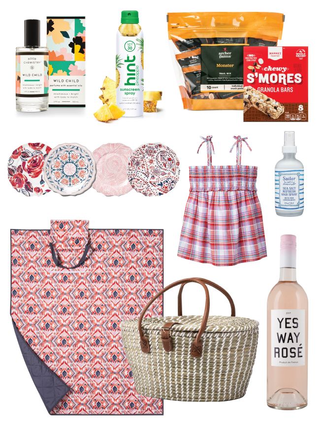 Picnic gear, including blanket, basket, plates, snacks, wine and beauty products, as well as a girl's top
