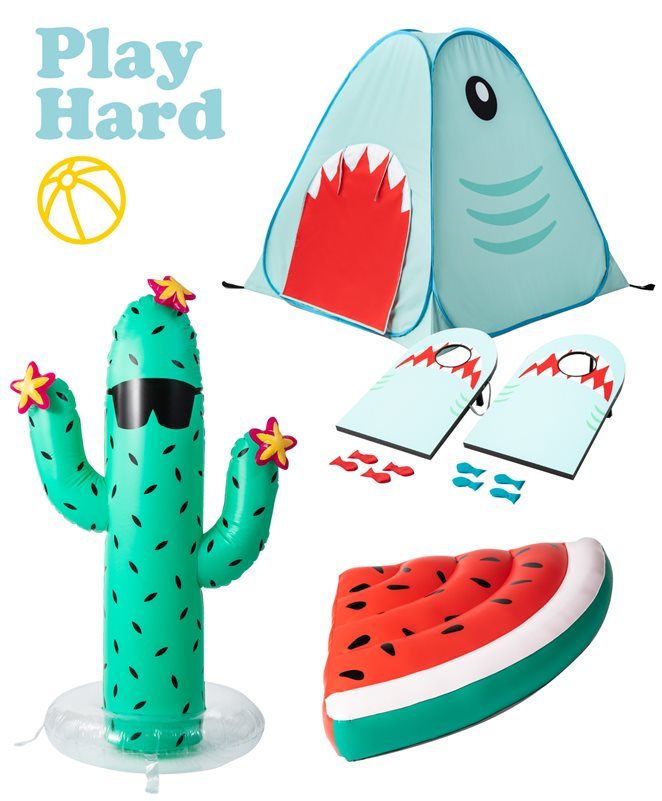Photo collage with Play Hard text, beach ball icon, shark tent, shark bean bag toss game, cactus sprinkler and watermelon slice float