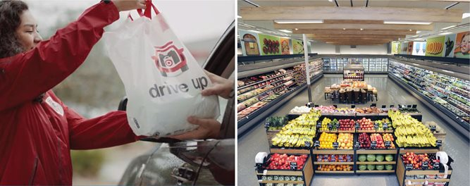 Left, a woman hands a white Drive Up bag to a guest in a car; right, a shot of a Target grocery department with fresh produce on display.