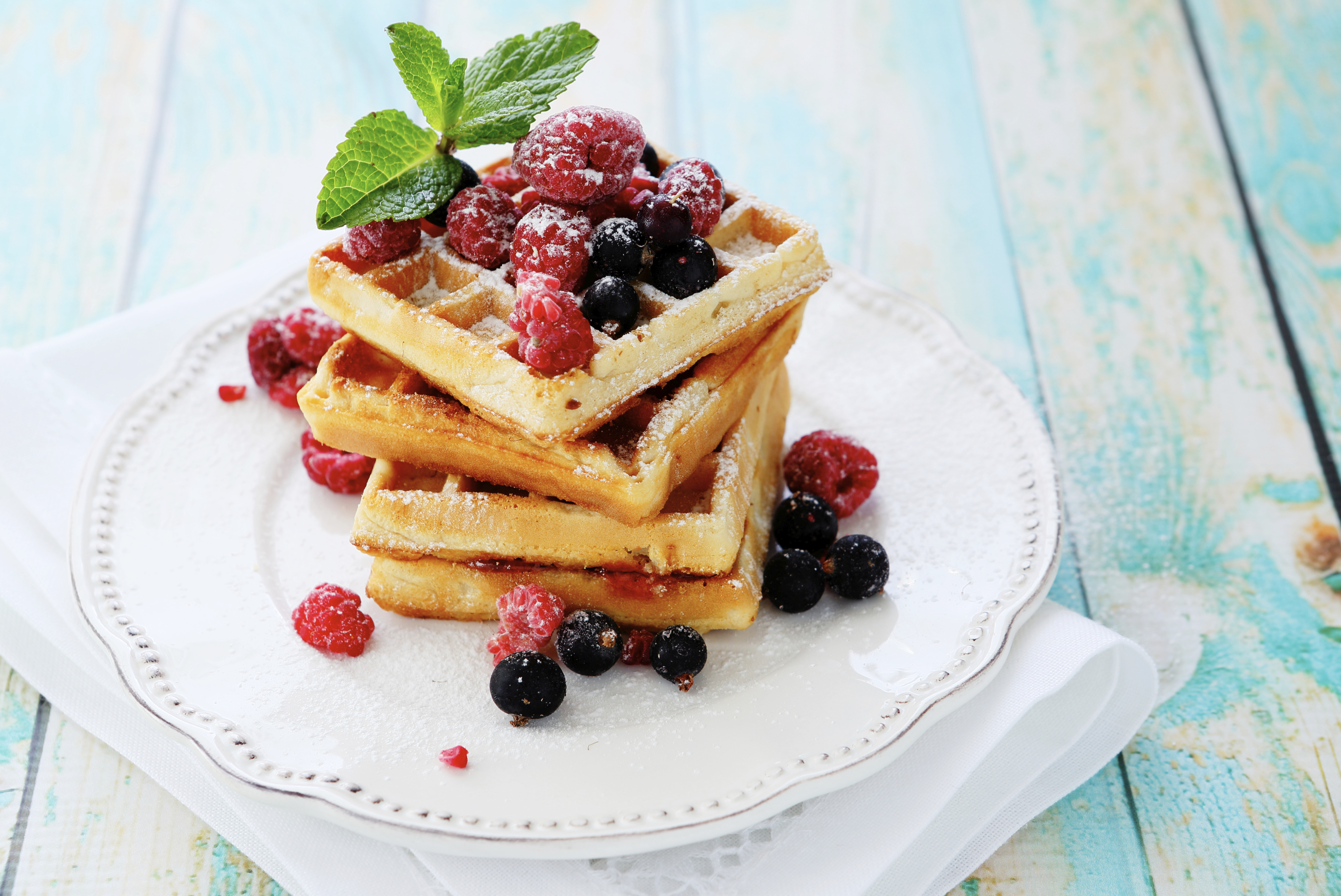 Breakfast waffles with fruit on top