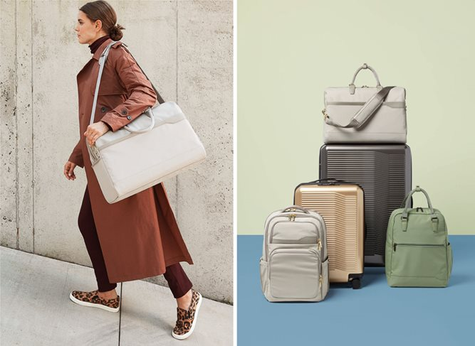 Left, a model carries a tan shoulder bag; right, a stack of assorted luggage bags in tan, silver, champagne and olive
