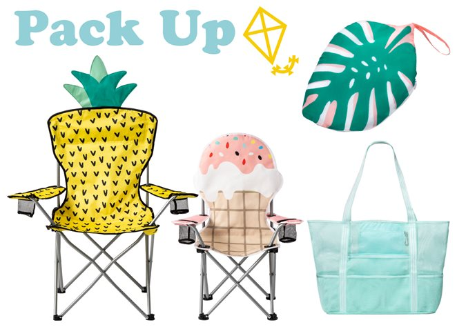 Photo collage with Pack Up text, kite icon, pineapple and ice cream camping chairs, mesh beach bag and palm packable blanket