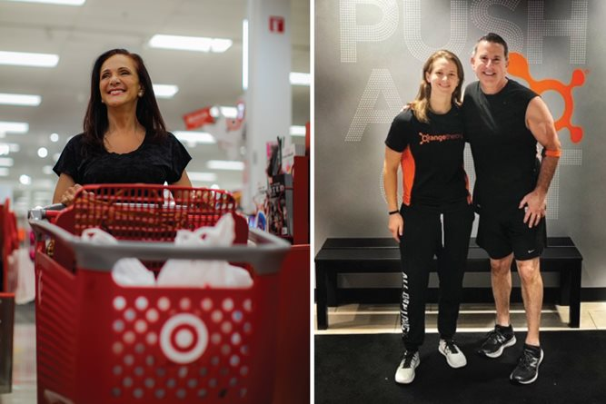 Left, Ellen smiles as she shops Target with a red cart; Right, Brian stands smiling with his trainer at Orangetheory